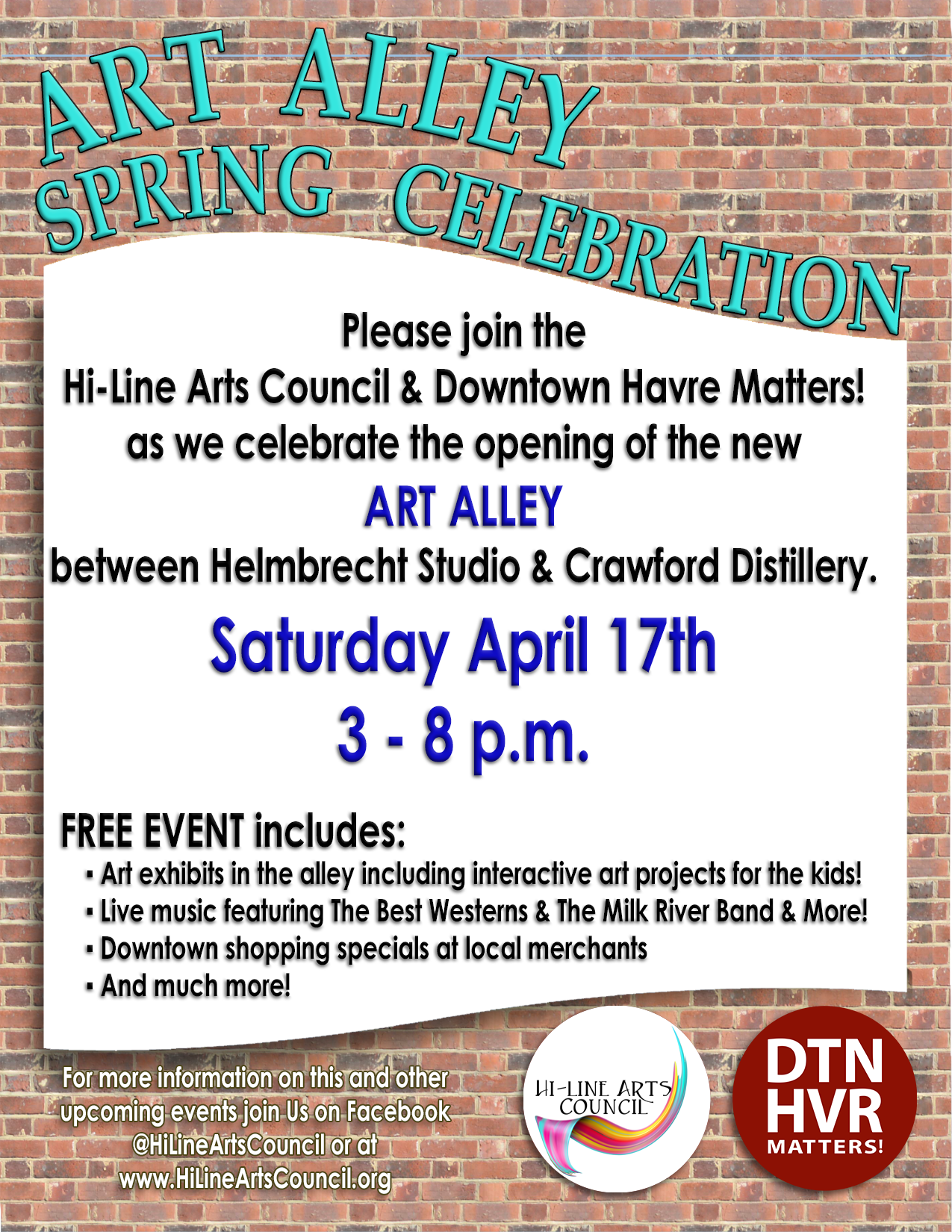 ART ALLEY Spring Celebration between Helmbrecht Studio & Crawford Distillery. Saturday April 17th 3 - 8 p.m.
